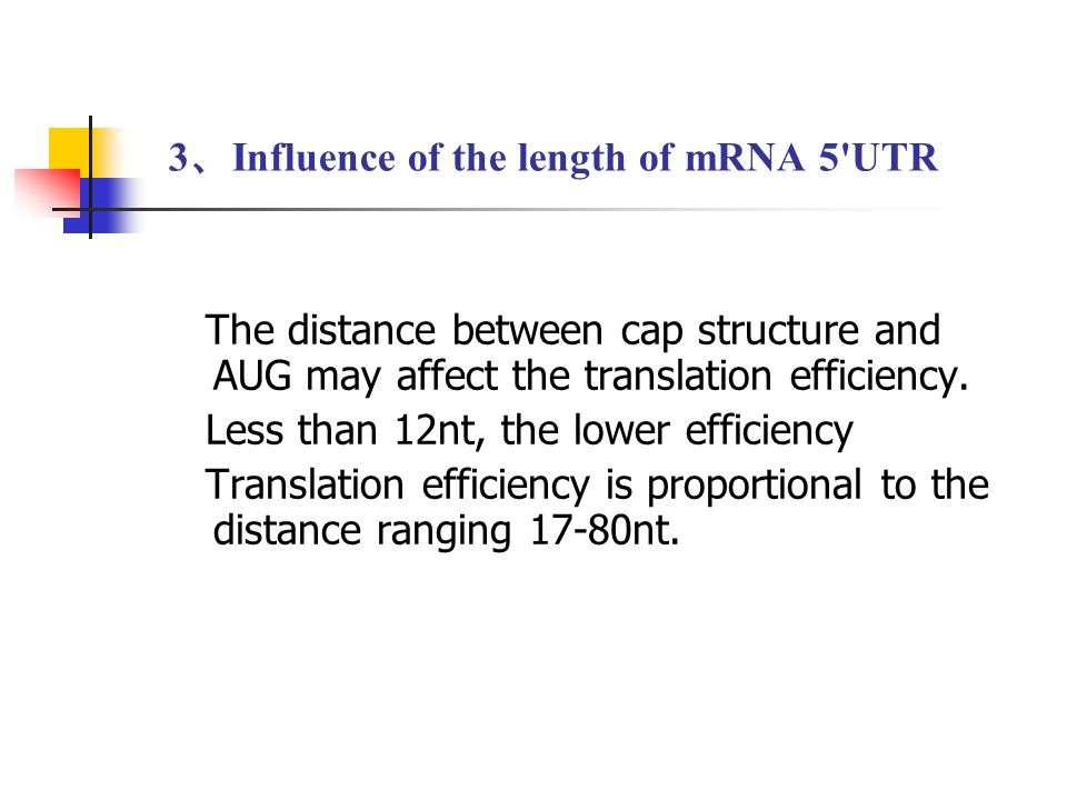 3 、 Influence of the length of mRNA 5'UTR The distance between cap structure and AUG may affect the translation efficiency. Less than 12nt, the lower