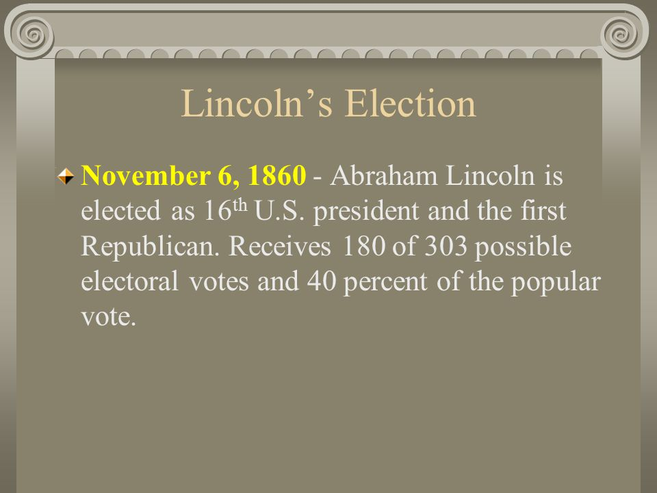 Lincoln's Election November 6, 1860 - Abraham Lincoln is elected as 16 th U.S.