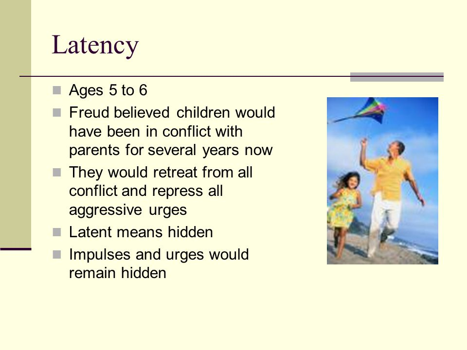Latency Ages 5 to 6 Freud believed children would have been in conflict with parents for several years now They would retreat from all conflict and repress all aggressive urges Latent means hidden Impulses and urges would remain hidden