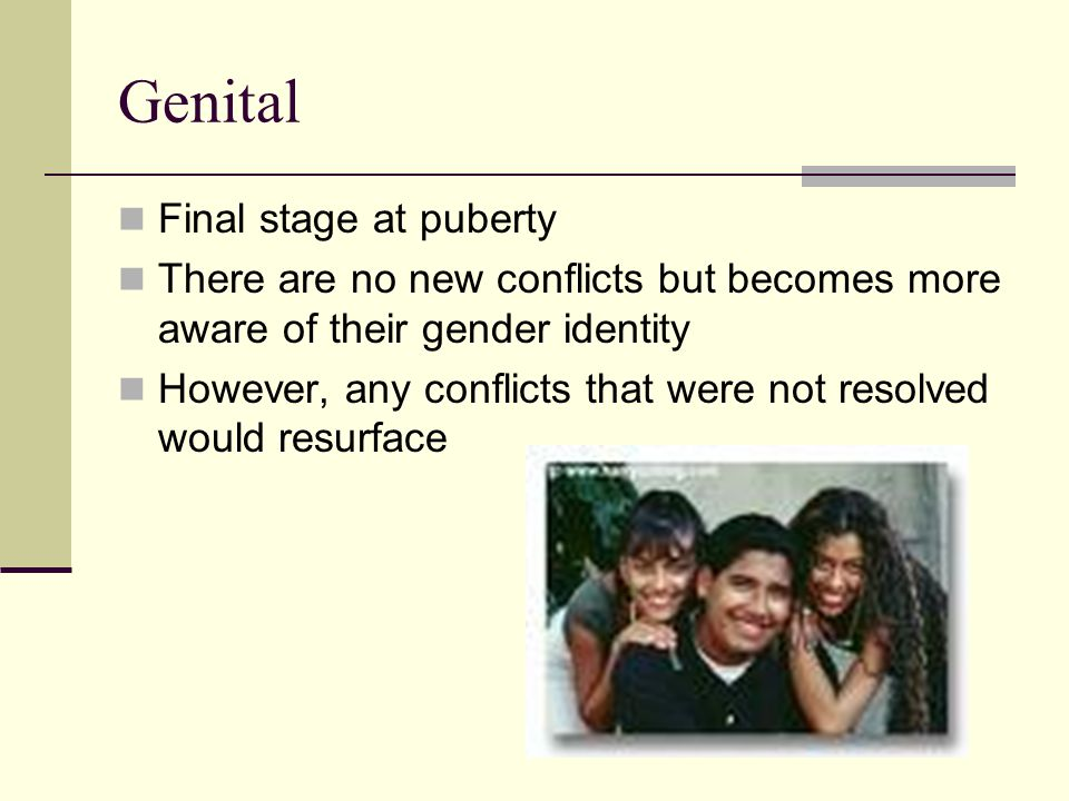 Genital Final stage at puberty There are no new conflicts but becomes more aware of their gender identity However, any conflicts that were not resolved would resurface