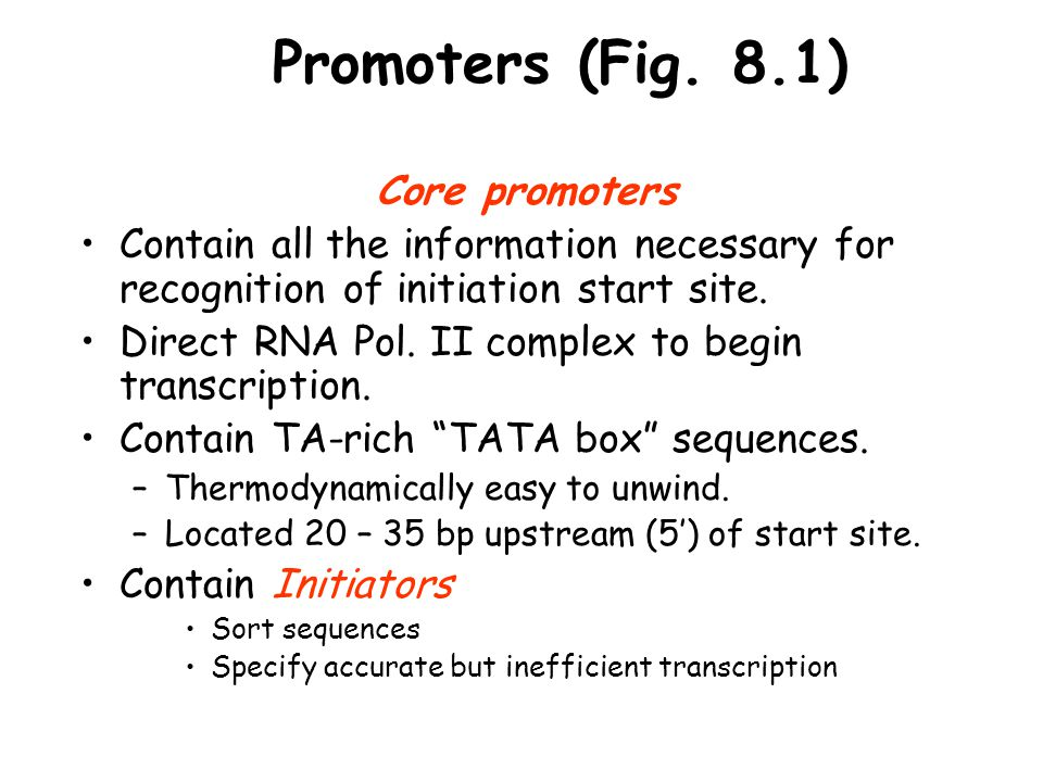 Promoters (Fig. 8.1) Core promoters Contain all the information necessary for recognition of initiation start site. Direct RNA Pol. II complex to begi