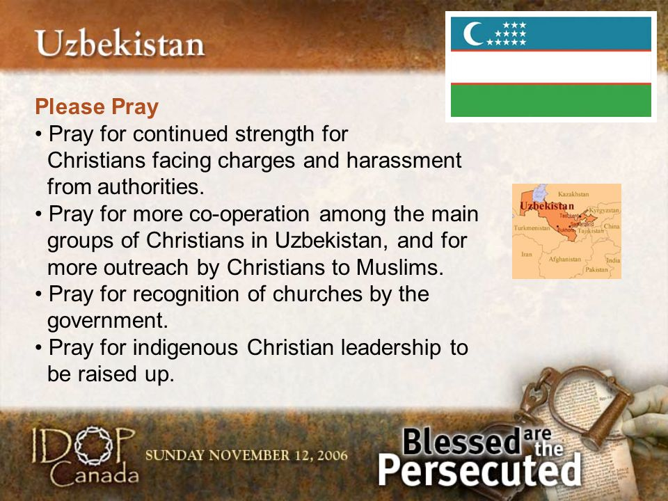 Please Pray Pray for continued strength for Christians facing charges and harassment from authorities. Pray for more co-operation among the main group
