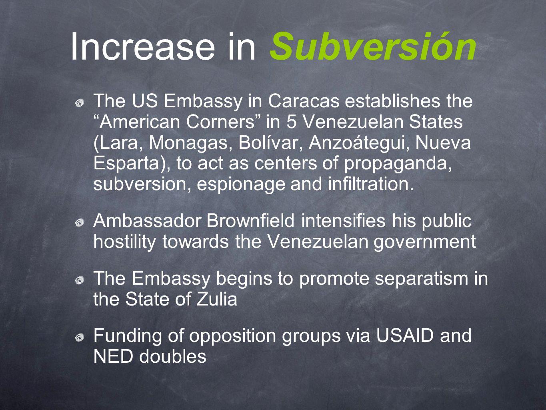 Increase in Subversión The US Embassy in Caracas establishes the American Corners in 5 Venezuelan States (Lara, Monagas, Bolívar, Anzoátegui, Nueva Esparta), to act as centers of propaganda, subversion, espionage and infiltration.