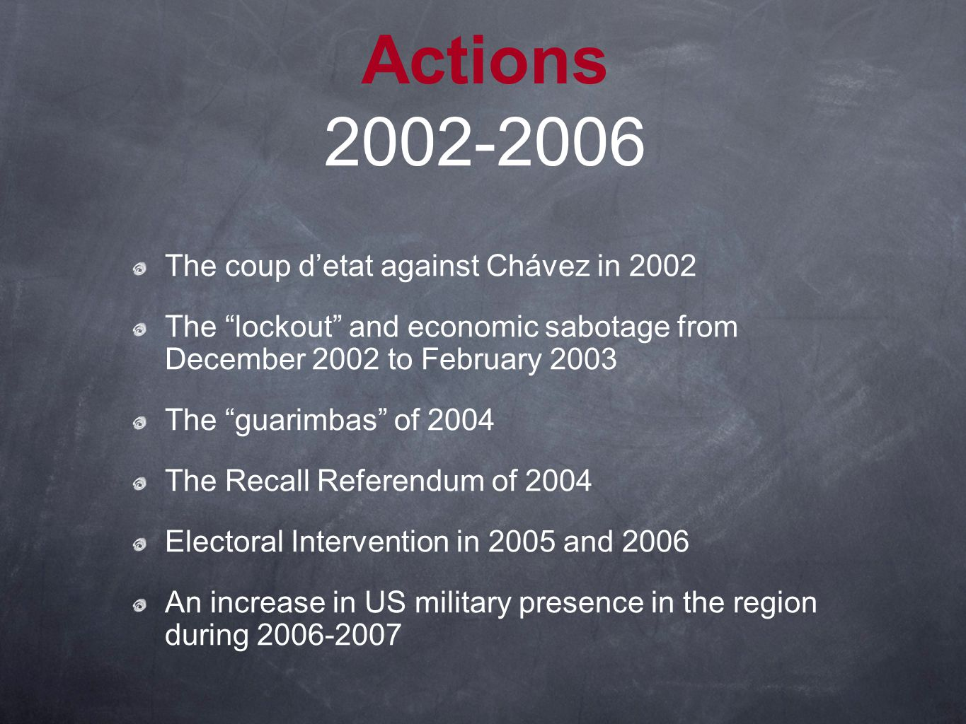 Actions 2002-2006 The coup d'etat against Chávez in 2002 The lockout and economic sabotage from December 2002 to February 2003 The guarimbas of 2004 The Recall Referendum of 2004 Electoral Intervention in 2005 and 2006 An increase in US military presence in the region during 2006-2007