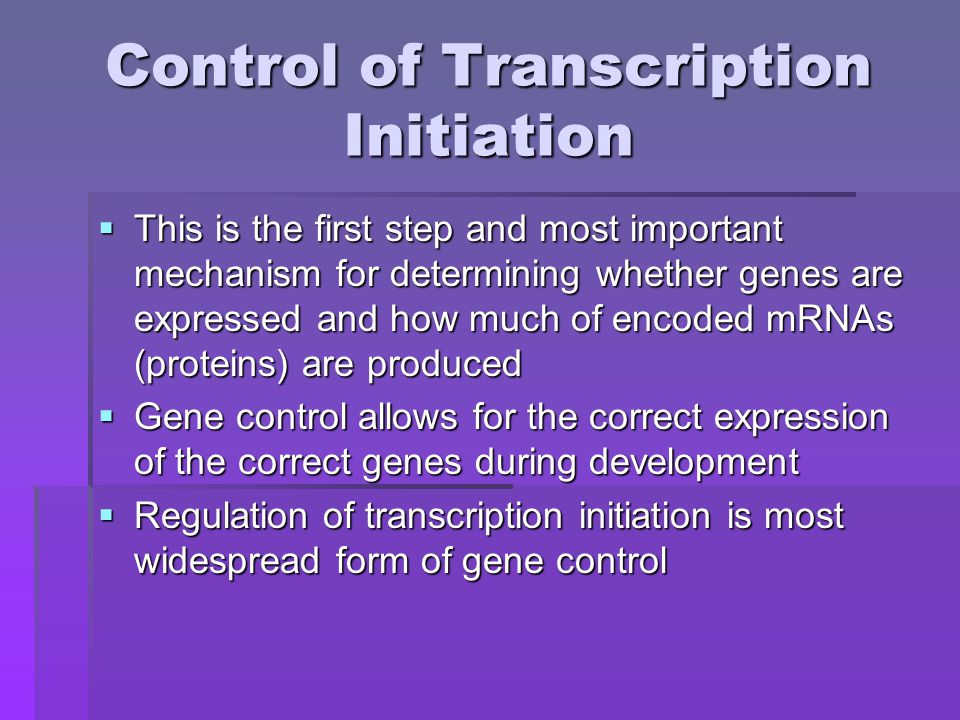 Control of Transcription Initiation  This is the first step and most important mechanism for determining whether genes are expressed and how much of encoded mRNAs (proteins) are produced  Gene control allows for the correct expression of the correct genes during development  Regulation of transcription initiation is most widespread form of gene control