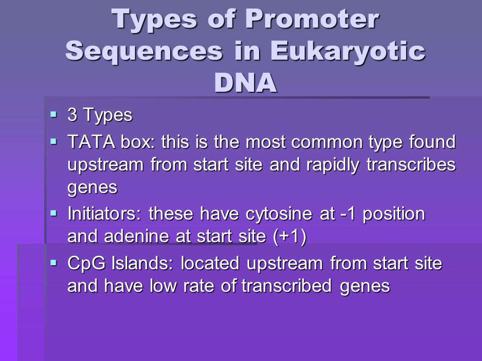 Transcription-Control Regions  Protein-binding DNA sequences that regulate protein-coding genes  Promoter: control elements plus TATA- box or initiator  Enhancers: long distance transcriptional- control elements which can occur upstream or downstream from a promoter and are cell-type specific