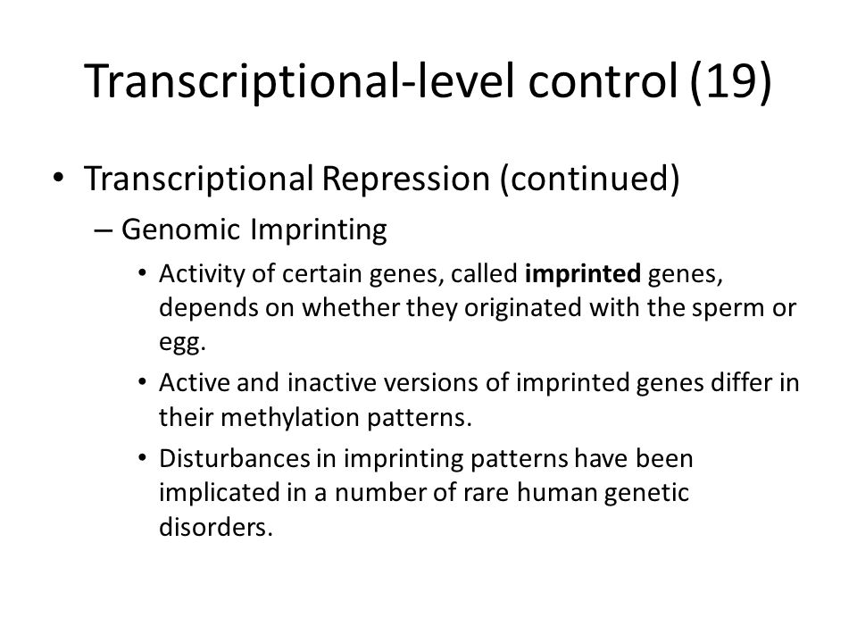 Transcriptional-level control (19) Transcriptional Repression (continued) – Genomic Imprinting Activity of certain genes, called imprinted genes, depends on whether they originated with the sperm or egg.