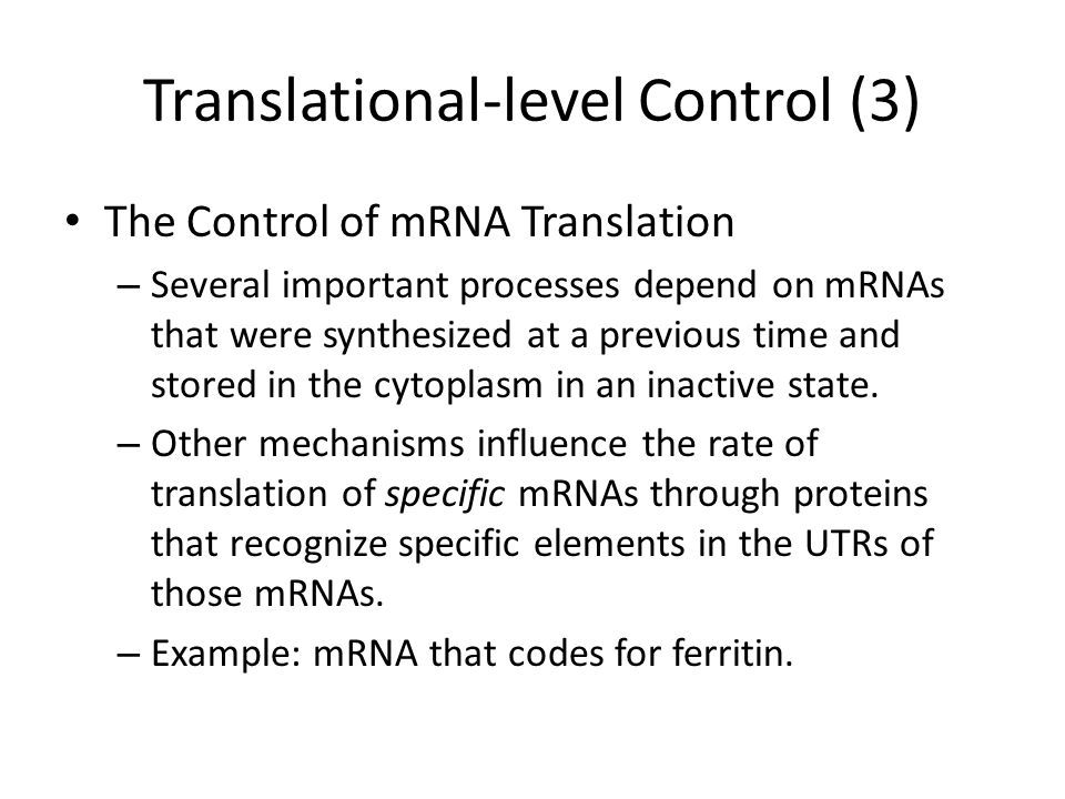 Translational-level Control (3) The Control of mRNA Translation – Several important processes depend on mRNAs that were synthesized at a previous time and stored in the cytoplasm in an inactive state.