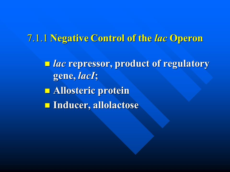 7.1.5 Positive Control of the lac Operon Catabolic activator protein (CAP) Catabolic activator protein (CAP) cAMP cAMP AMP receptor protein (CRP) AMP receptor protein (CRP)