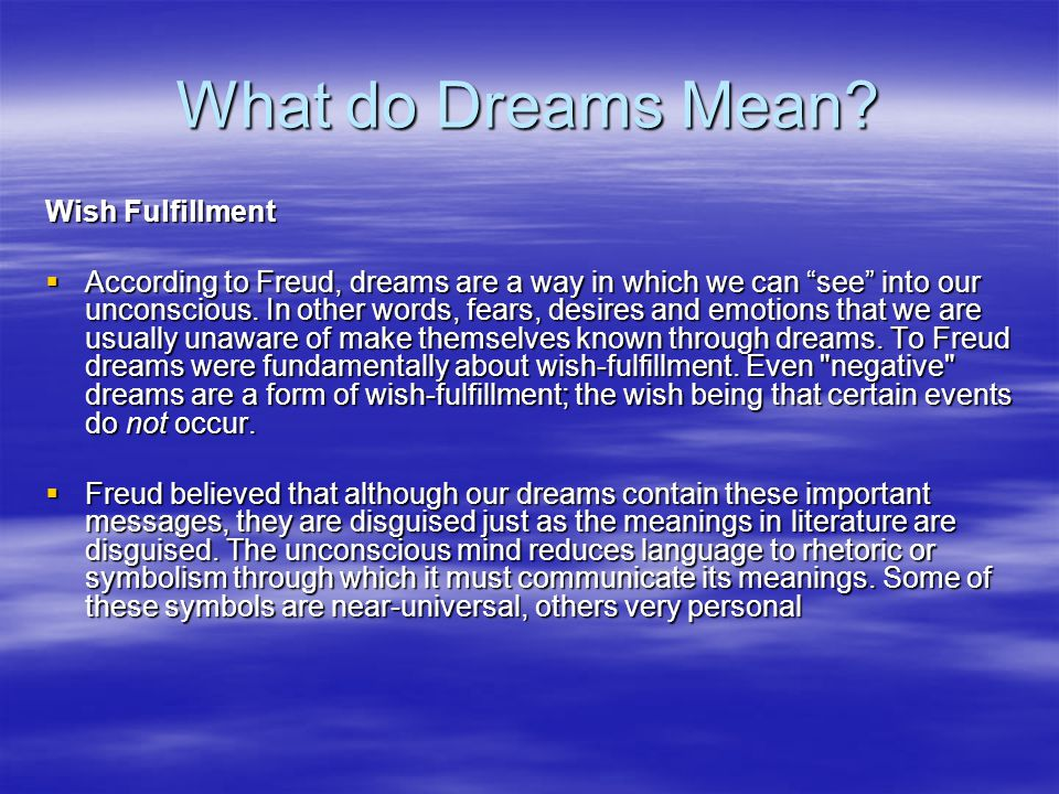 What do Dreams Mean.