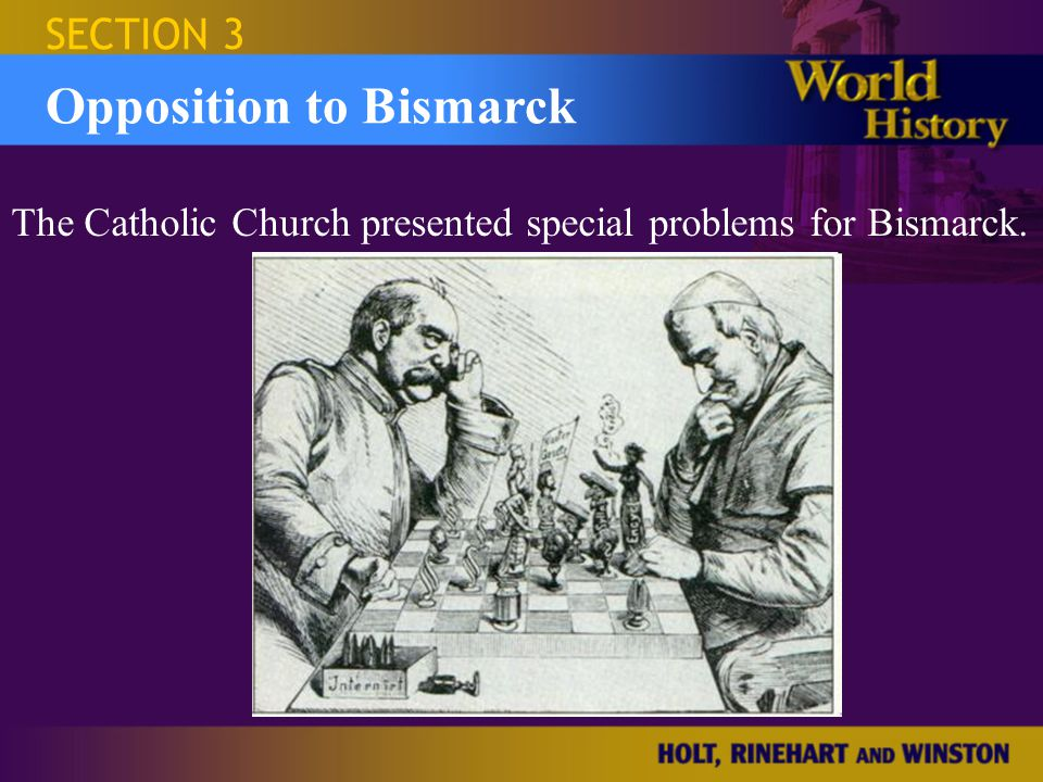 Israel and the Occupied Territories SECTION 3 Opposition to Bismarck Kulturkampf Anti-Catholic program Pass strict laws to control Catholic clergy and schools Diplomatic relations with Vatican were broken Church property confiscated Would end in failure 1887