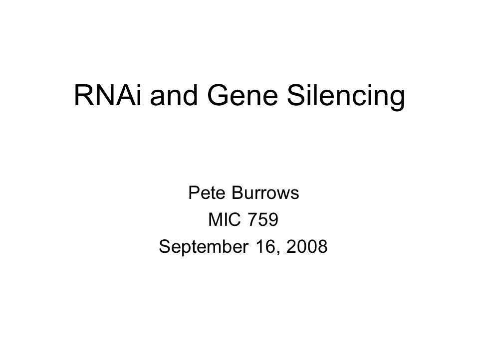 RNAi and Gene Silencing Pete Burrows MIC 759 September 16, 2008