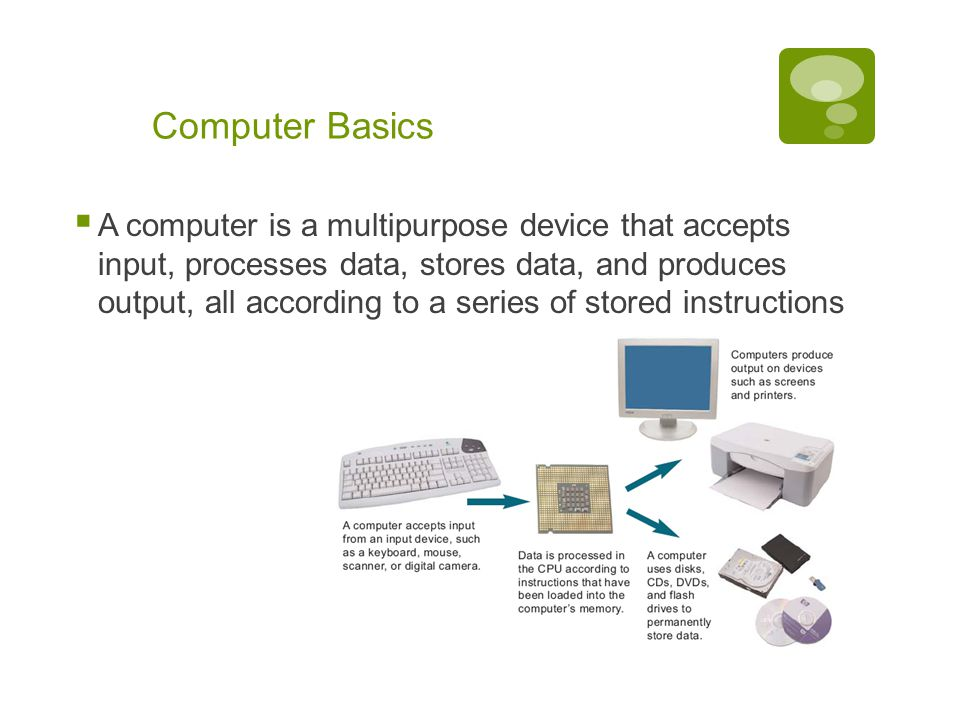 Chapter 1: Computers and Digital Basics 12 Computer Basics  A computer is a multipurpose device that accepts input, processes data, stores data, and produces output, all according to a series of stored instructions