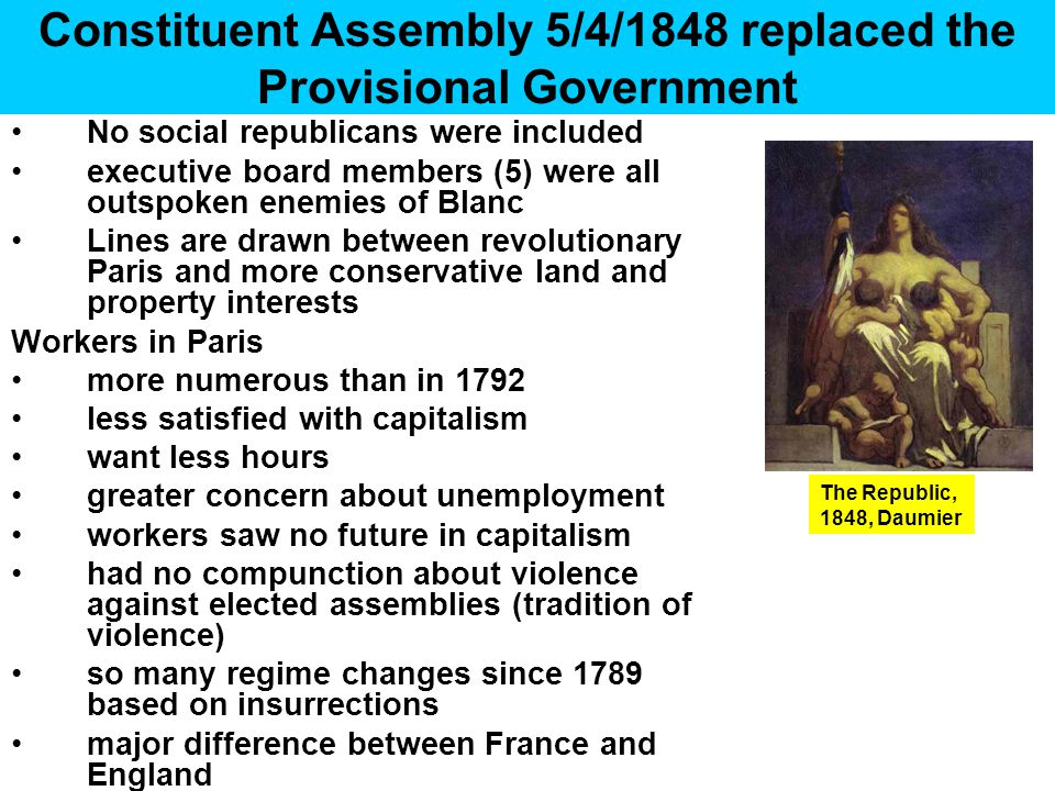 Constituent Assembly 5/4/1848 replaced the Provisional Government No social republicans were included executive board members (5) were all outspoken e