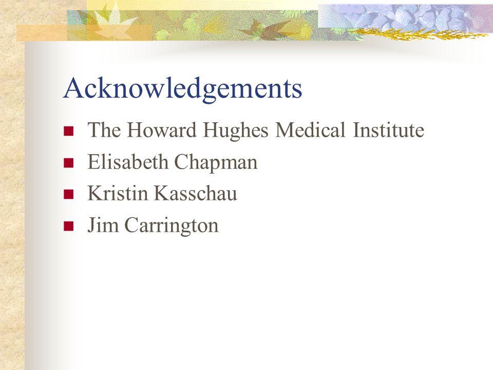 Acknowledgements The Howard Hughes Medical Institute Elisabeth Chapman Kristin Kasschau Jim Carrington