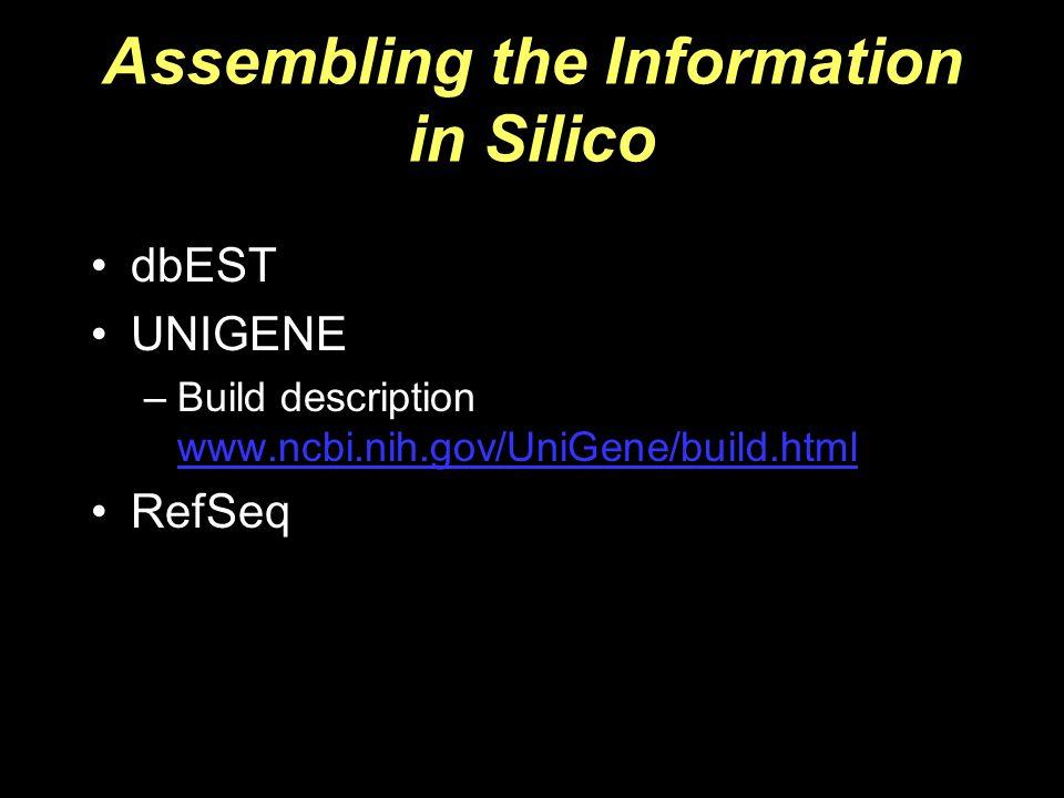 Assembling the Information in Silico dbEST UNIGENE –Build description www.ncbi.nih.gov/UniGene/build.html www.ncbi.nih.gov/UniGene/build.html RefSeq