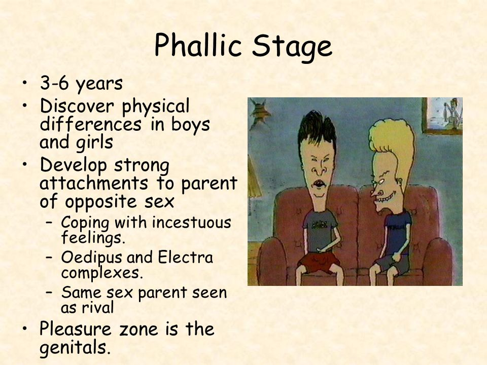 Phallic Stage 3-6 years Discover physical differences in boys and girls Develop strong attachments to parent of opposite sex –Coping with incestuous feelings.