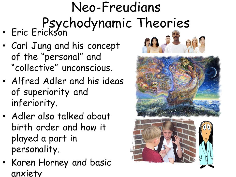 """Neo-Freudians Psychodynamic Theories Eric Erickson Carl Jung and his concept of the """"personal"""" and """"collective"""" unconscious. Alfred Adler and his idea"""
