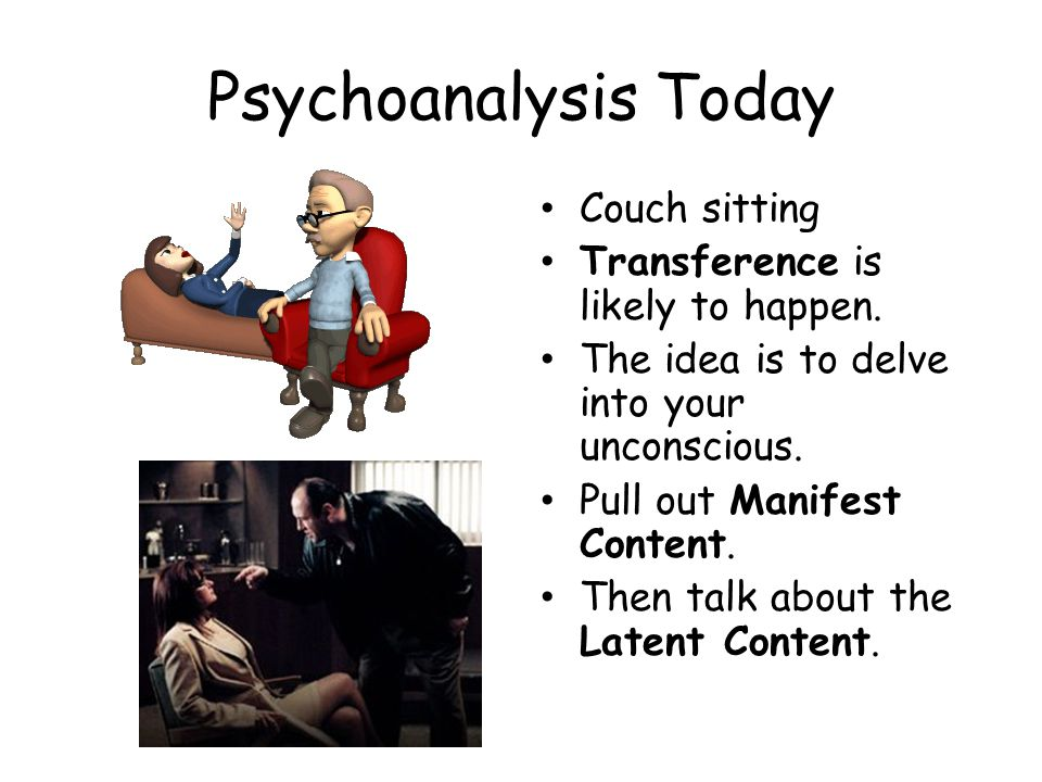 Psychoanalysis Today Couch sitting Transference is likely to happen. The idea is to delve into your unconscious. Pull out Manifest Content. Then talk