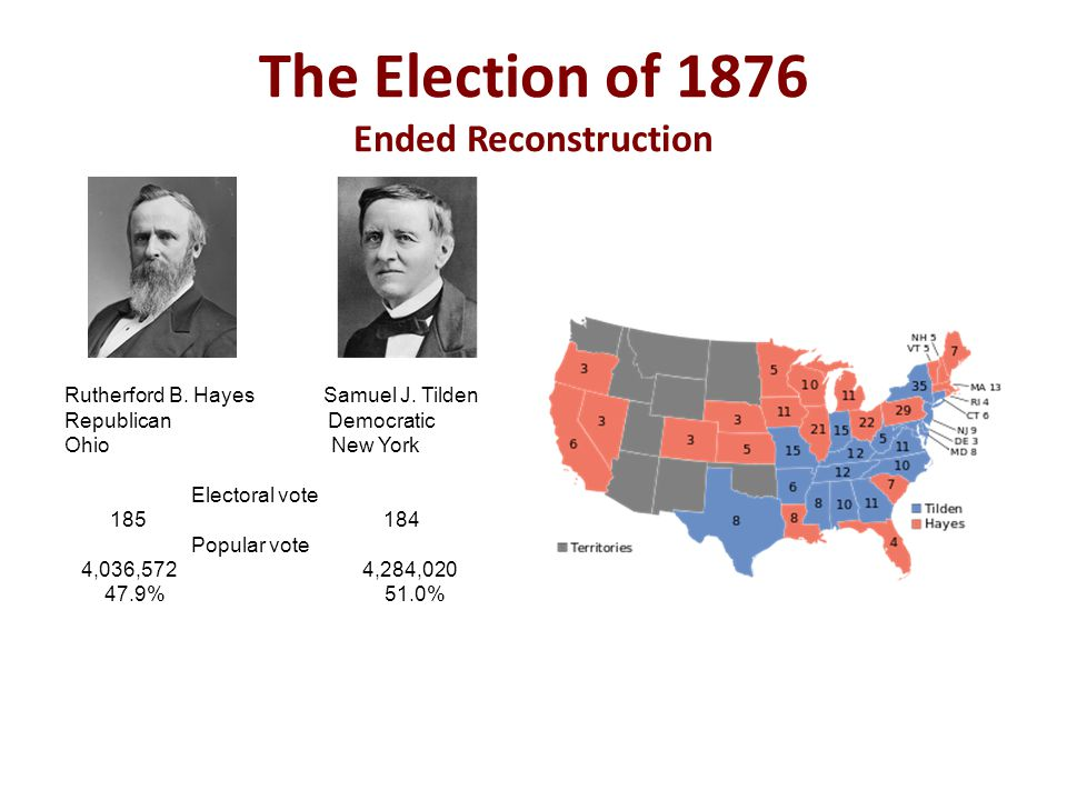 The Election of 1876 Ended Reconstruction Rutherford B.