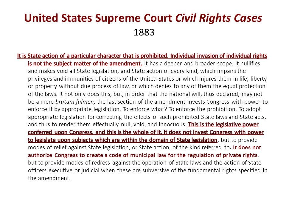 United States Supreme Court Civil Rights Cases 1883
