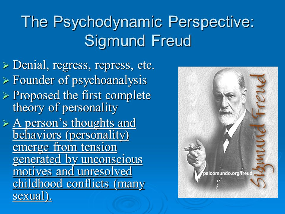 The Psychodynamic Perspective: Sigmund Freud  Denial, regress, repress, etc.