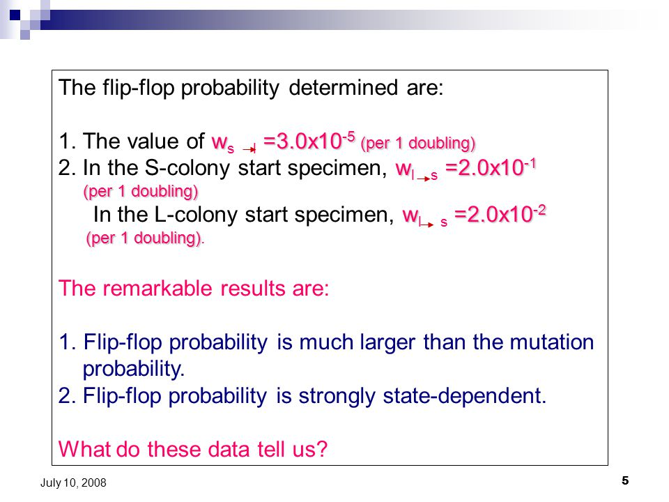 5 July 10, 2008 The flip-flop probability determined are: w =3.0x10 -5 (per 1 doubling) 1.