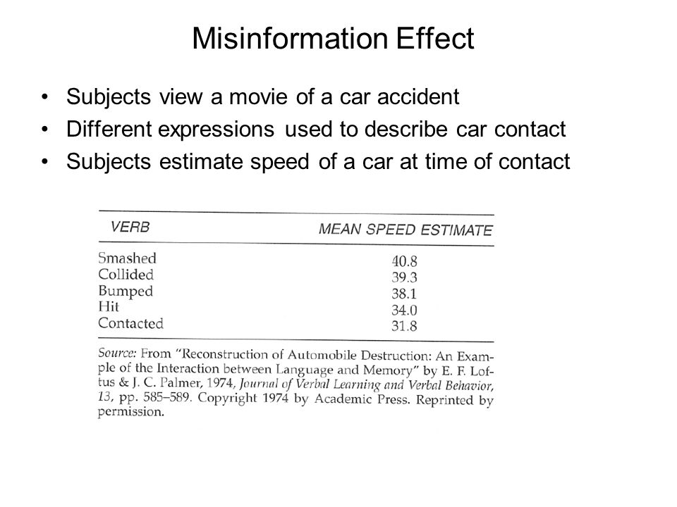 Misinformation Effect Subjects view a movie of a car accident Different expressions used to describe car contact Subjects estimate speed of a car at time of contact