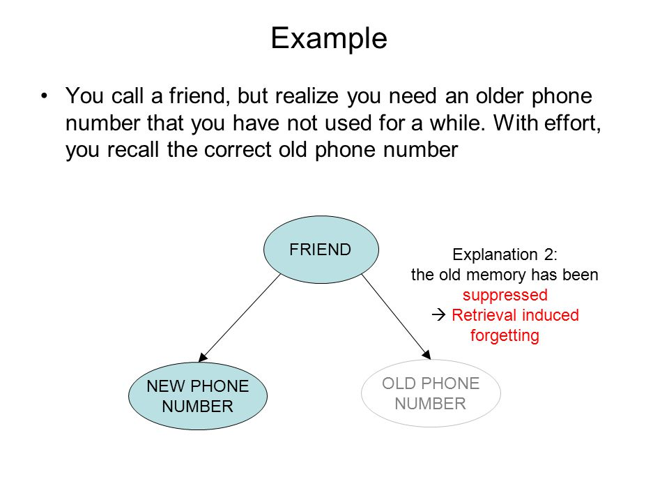 Example You call a friend, but realize you need an older phone number that you have not used for a while.