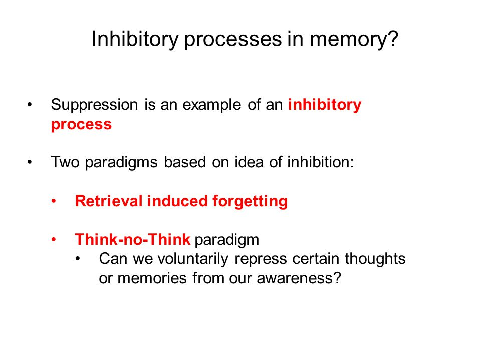 Inhibitory processes in memory.