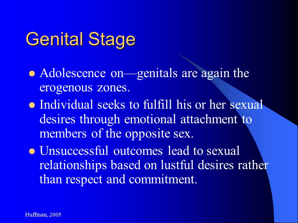 Huffman, 2005 Genital Stage Adolescence on—genitals are again the erogenous zones.