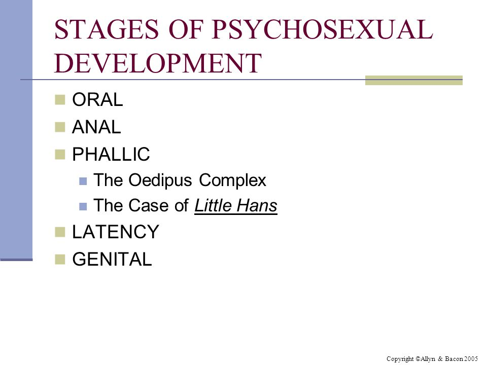 Copyright ©Allyn & Bacon 2005 STAGES OF PSYCHOSEXUAL DEVELOPMENT ORAL ANAL PHALLIC The Oedipus Complex The Case of Little Hans LATENCY GENITAL