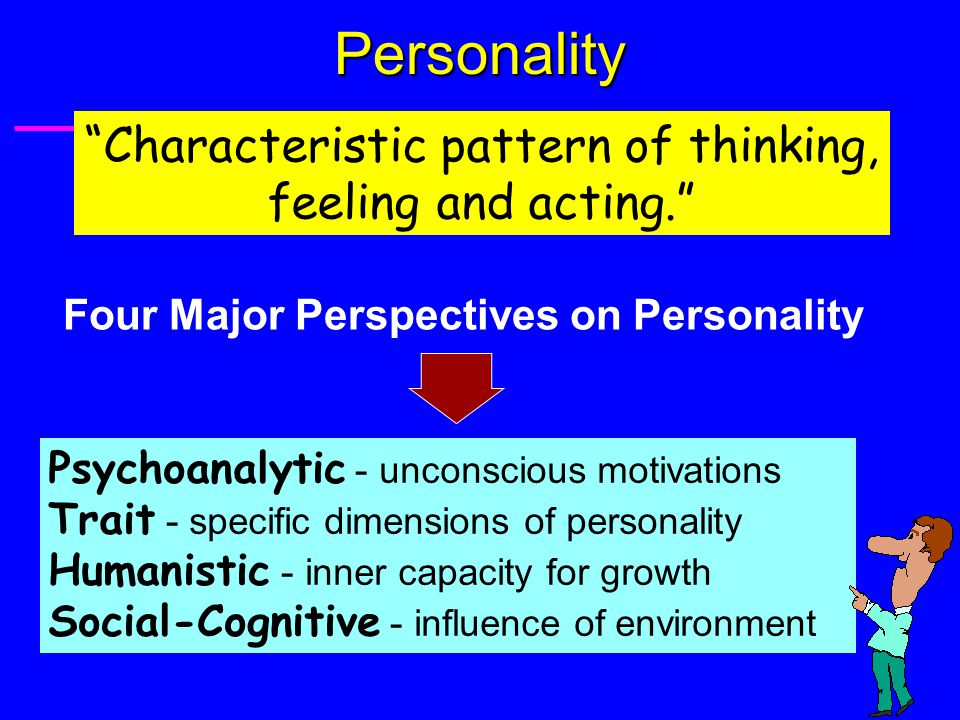 "Personality ""Characteristic pattern of thinking, feeling and acting."" Four Major Perspectives on Personality Psychoanalytic - unconscious motivations"