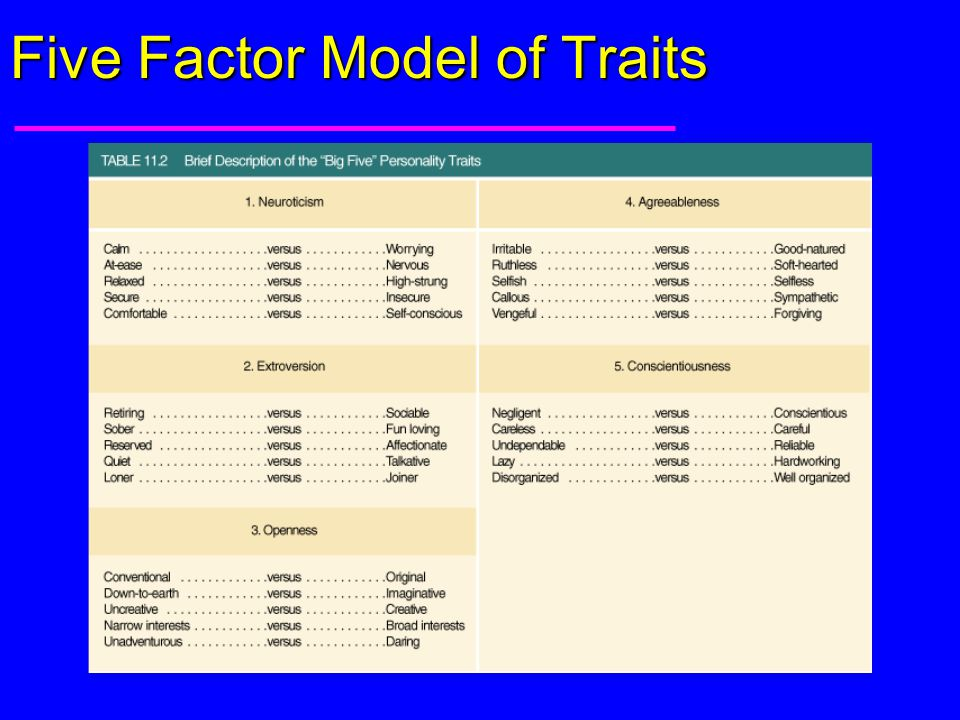 Five Factor Model of Traits