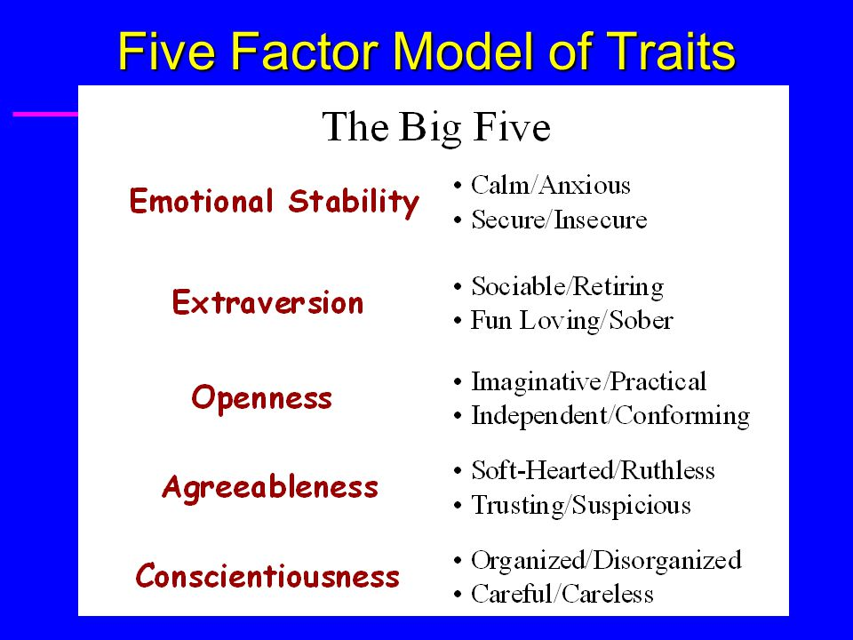 Trait Theories of Personality: Summary u Traits u Traits: – Characteristics or typical ways of acting: Consistency: u across situations, over time.