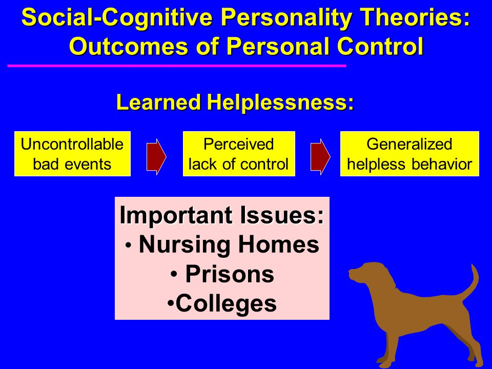 Social-Cognitive Personality Theories: Outcomes of Personal Control Learned Helplessness: Uncontrollable bad events Perceived lack of control Generali