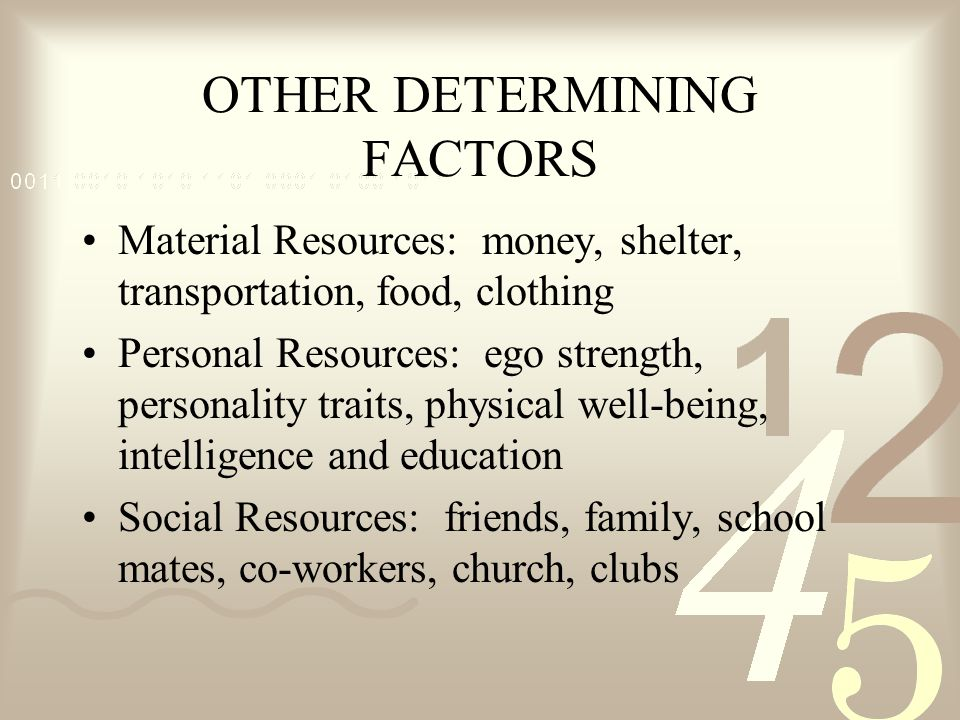 OTHER DETERMINING FACTORS Material Resources: money, shelter, transportation, food, clothing Personal Resources: ego strength, personality traits, phy