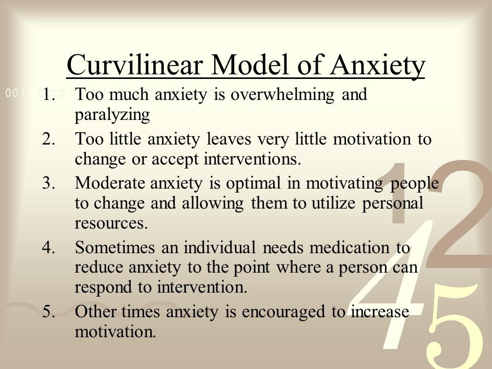 Curvilinear Model of Anxiety 1.Too much anxiety is overwhelming and paralyzing 2.Too little anxiety leaves very little motivation to change or accept interventions.