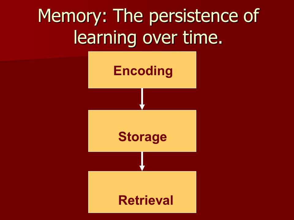 Memory: The persistence of learning over time. Encoding Storage Retrieval