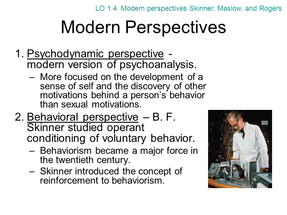 Modern Perspectives 3.Humanistic perspective –Owes far more to the early roots of psychology in the field of philosophy.