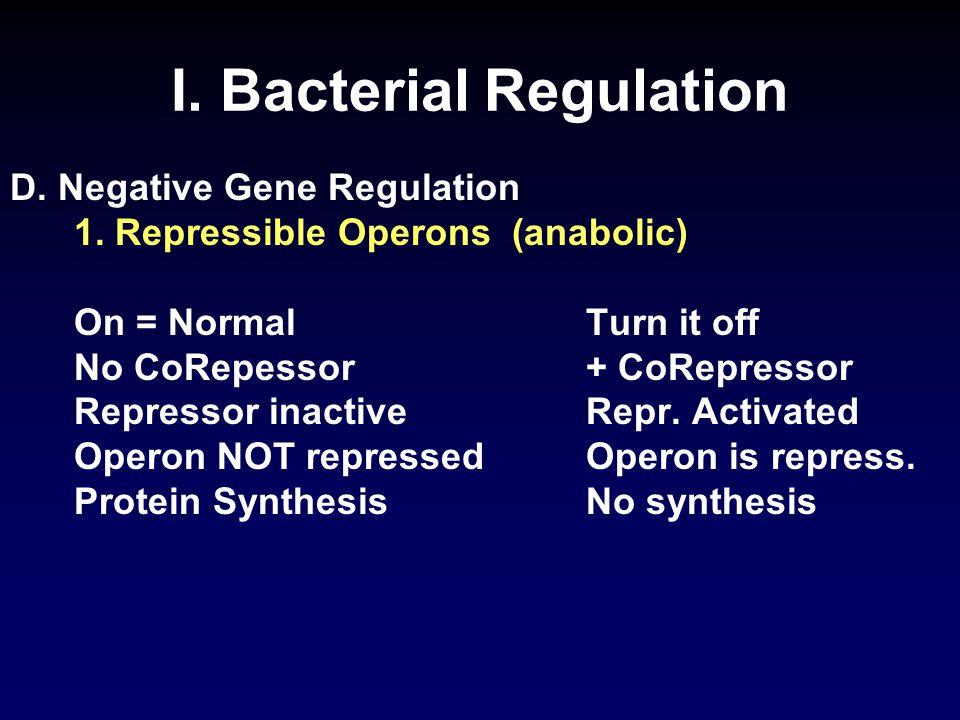 I. Bacterial Regulation D. Negative Gene Regulation 1.