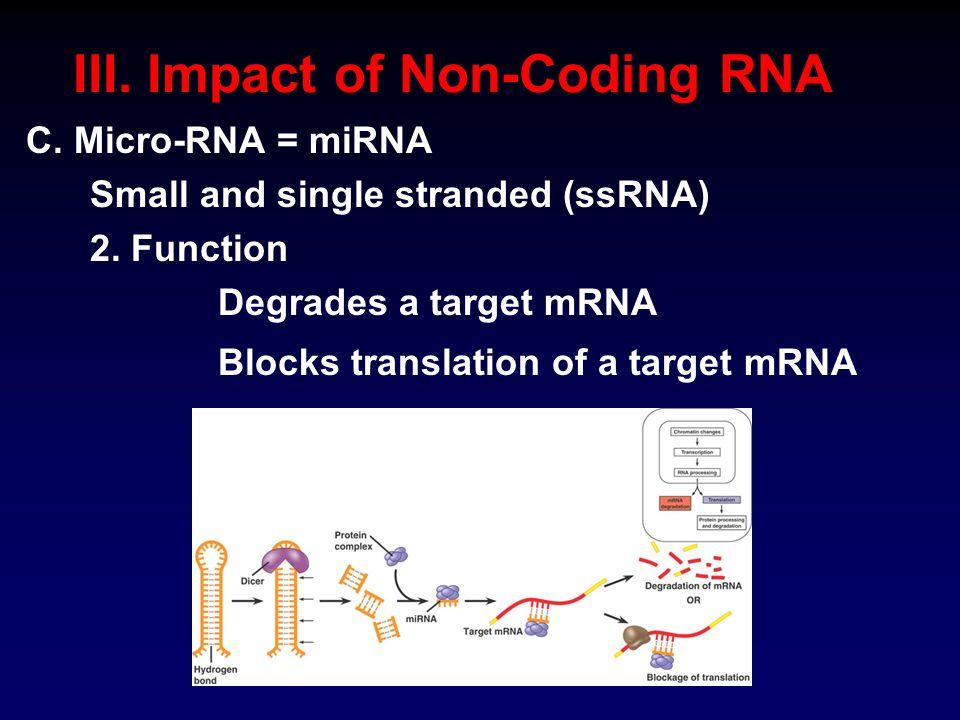 III. Impact of Non-Coding RNA C. Micro-RNA = miRNA Small and single stranded (ssRNA) 2.