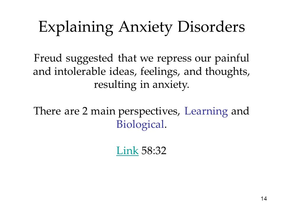 14 Explaining Anxiety Disorders Freud suggested that we repress our painful and intolerable ideas, feelings, and thoughts, resulting in anxiety. There