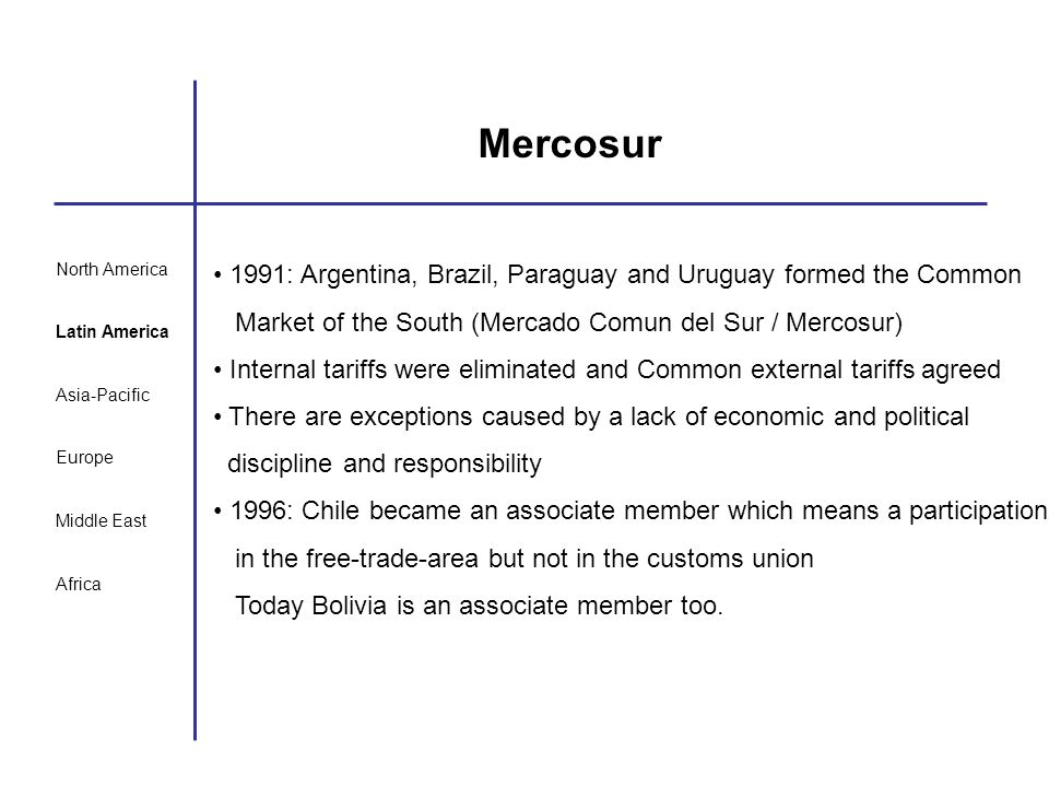 North America Latin America Asia-Pacific Europe Middle East Africa Mercosur 1991: Argentina, Brazil, Paraguay and Uruguay formed the Common Market of