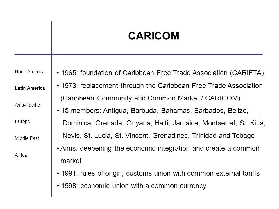 North America Latin America Asia-Pacific Europe Middle East Africa CARICOM 1965: foundation of Caribbean Free Trade Association (CARIFTA) 1973: replac