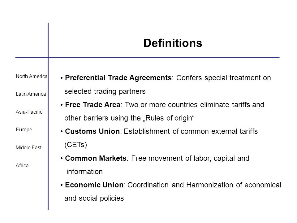 North America Latin America Asia-Pacific Europe Middle East Africa Definitions Preferential Trade Agreements: Confers special treatment on selected tr