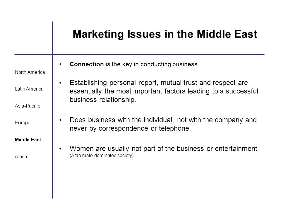 North America Latin America Asia-Pacific Europe Middle East Africa Marketing Issues in the Middle East Connection is the key in conducting business Es