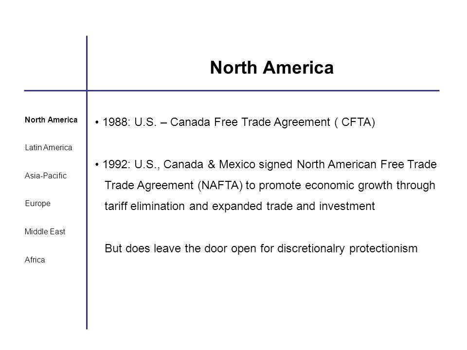 North America Latin America Asia-Pacific Europe Middle East Africa North America 1988: U.S. – Canada Free Trade Agreement ( CFTA) 1992: U.S., Canada &