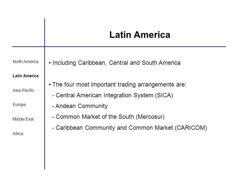 North America Latin America Asia-Pacific Europe Middle East Africa Latin America Including Caribbean, Central and South America The four most importan