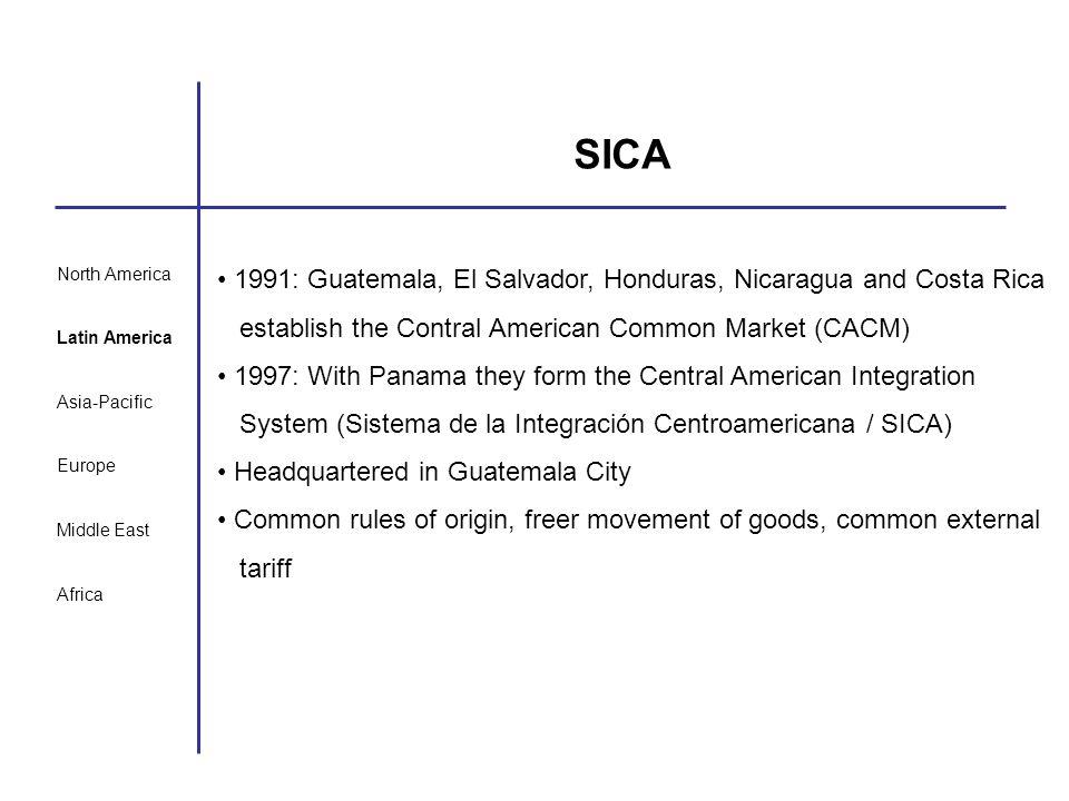 North America Latin America Asia-Pacific Europe Middle East Africa SICA 1991: Guatemala, El Salvador, Honduras, Nicaragua and Costa Rica establish the